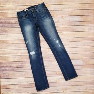 GAP 1969 REAL STRAIGHT DISTRESSED RIPPED JEANS 27L